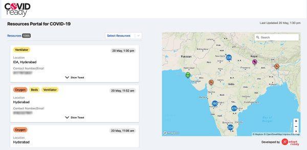 Screenshot of the COVID-19 IRT App